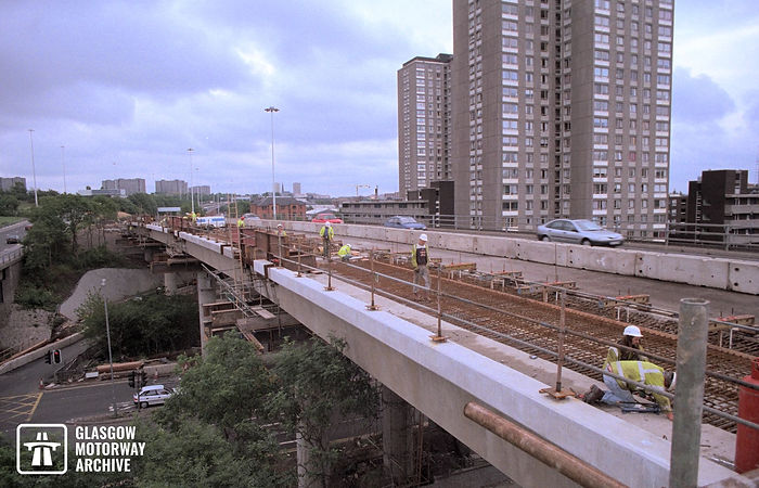 M8 motorway - Woodside Section - Widening of westbound viaduct (Summer 1995).