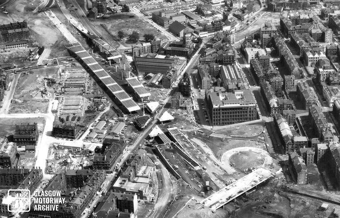 M8 motorway - Woodside Section - Aerial view of construction (July 1970).