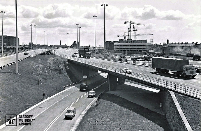 East across the M8 at Townhead Interchange (mid-1970s)