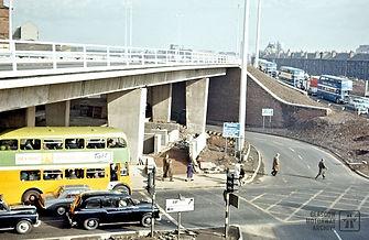 Castle Street, Glasgow at M8 motorway flyover (1968)