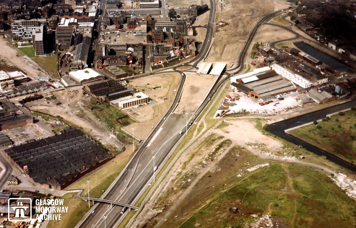 M8 motorway - Woodside Section -  Aerial view above Craighall (July 1968).