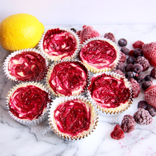 Mini Lemon Berry Cheesecakes