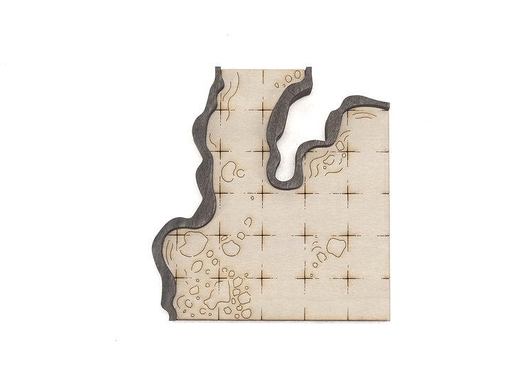 Cavern - Room - Corner 1-Exit B Add-On Dungeon Tile, Ready for Use
