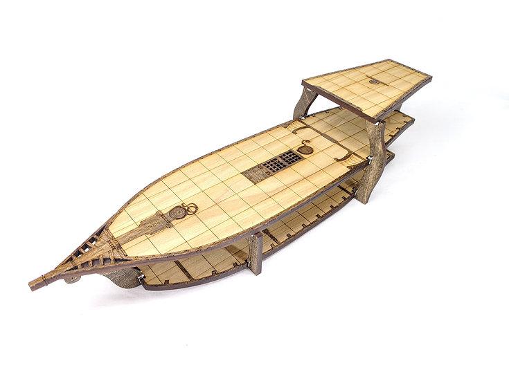 3-Level Wooden Brigantine Ship for RPGs
