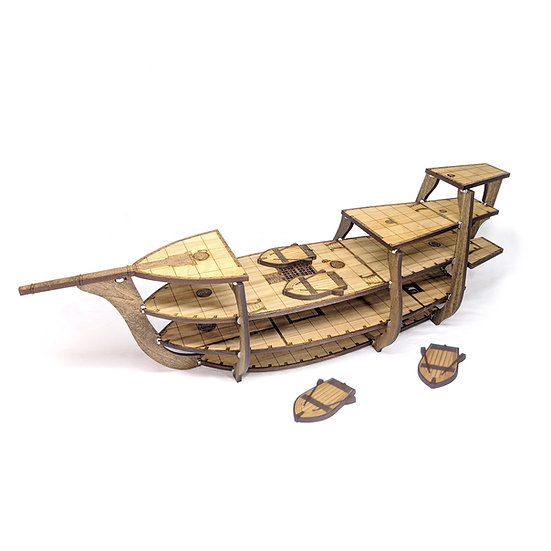 """5-Tiered Wooden Galleon Ship with 1"""" Grid for Tabletop RPGs like D&D, Pathfinder"""