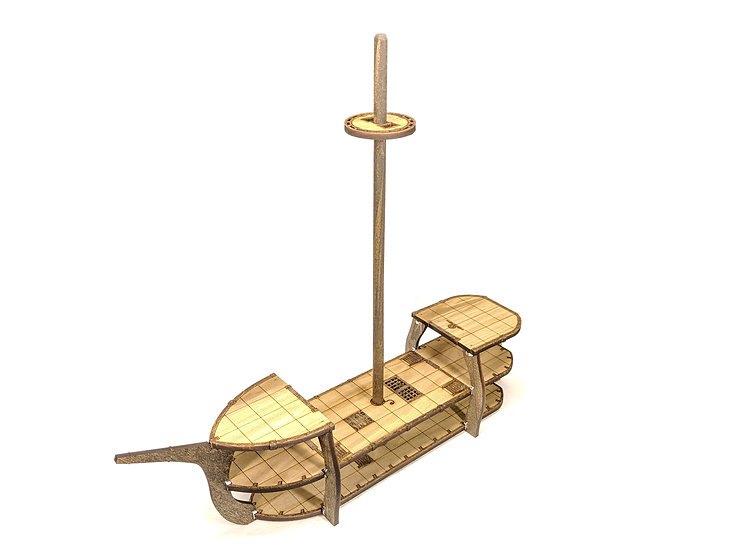 3-Level Wooden Classic Ship with Masts and Crows Nest for RPGs
