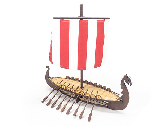 2-Level Complete Wooden Viking Longship with Mast, Yard and Sail for RPGs