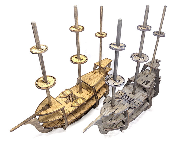 5-Level Wooden and Ghost/Wrecked Galleon Ships with Masts, Crows Nests for RPGs
