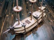 Galleon with Set of 5 Ballistae and Lantern Lady Figurehead