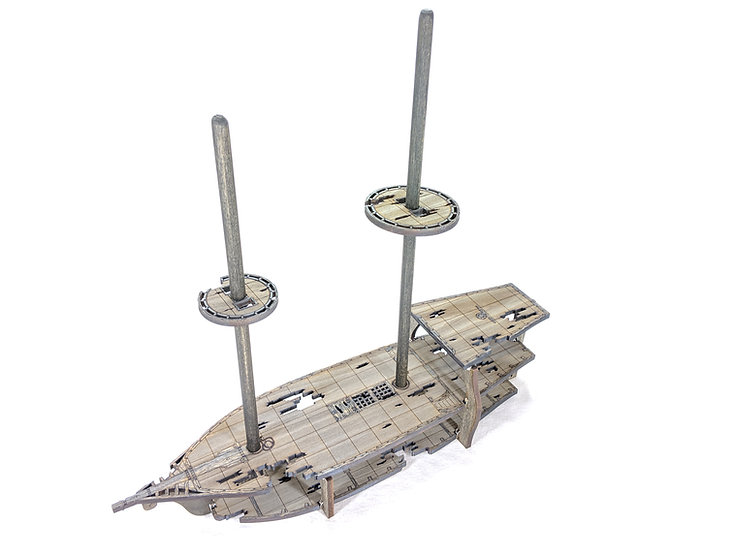 3-Level Ghost or Wrecked Brigantine Ship with Masts and Crows Nests for RPGs