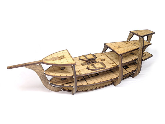 5-Level Wooden Galleon Ship for RPGs