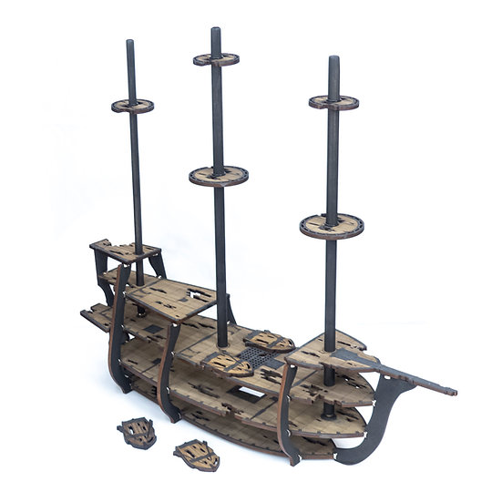 """5-Tiered Ghost Galleon Ship with 1"""" Grid for Tabletop RPGs like D&D, Pathfinder"""
