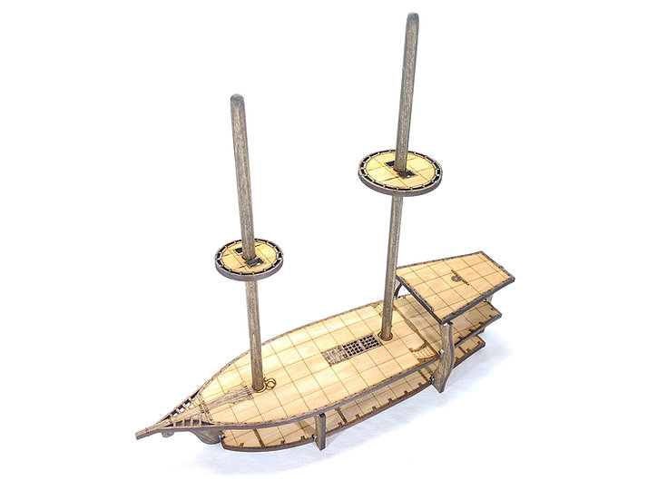 3-Level Wooden Brigantine Ship with Masts and Crows Nests for RPGs