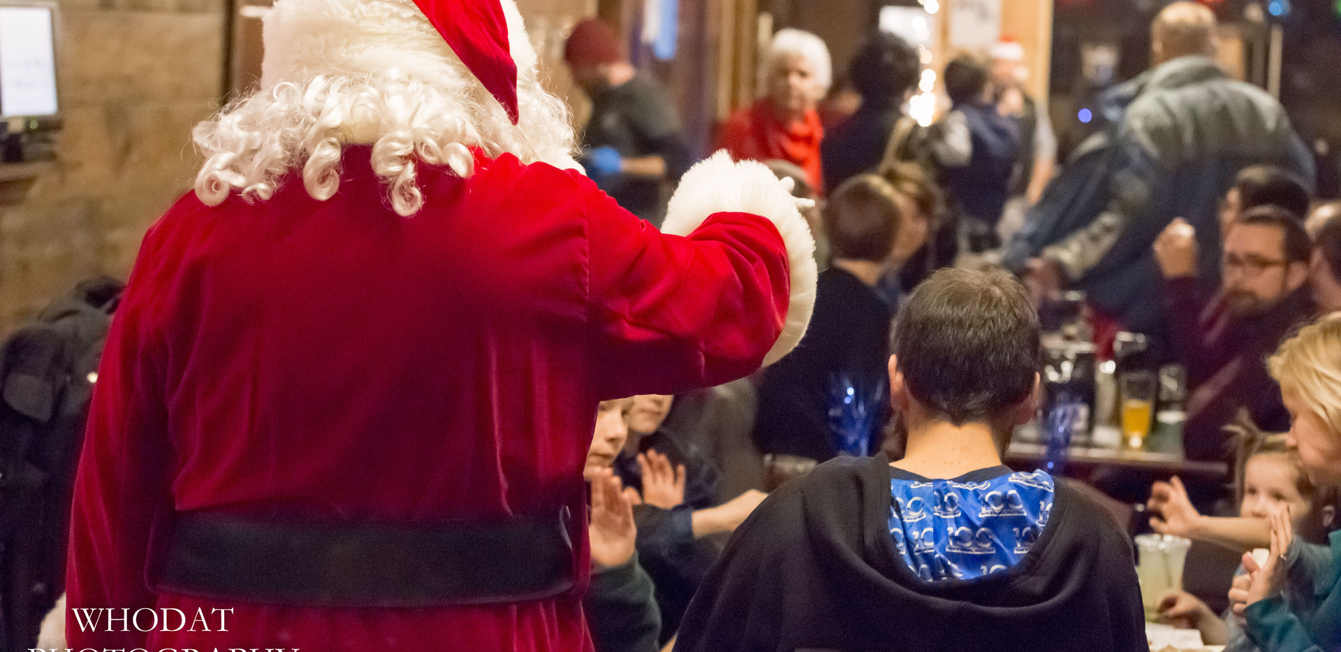 Santa greeting the crowd at South Haven Brew Pub.