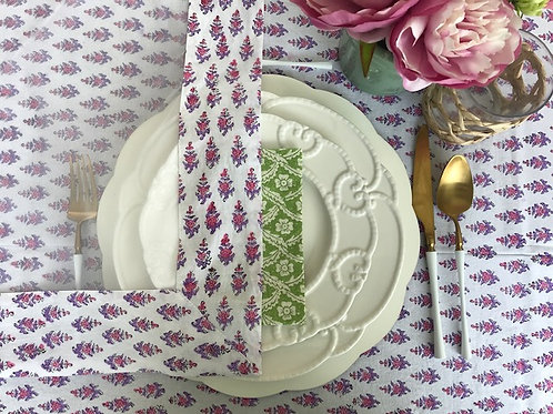 """Hand Block Printed Border - Net Cover """"Truly Pink"""""""