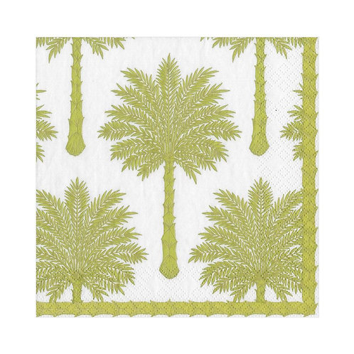 Caspari Paper Napkins - Grand Palms, Green - Luncheon Size 20 per pack