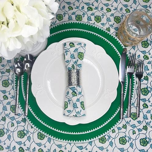Set of 4 Hand Block Printed - 'Floral Kali Green' Cloth Napkin