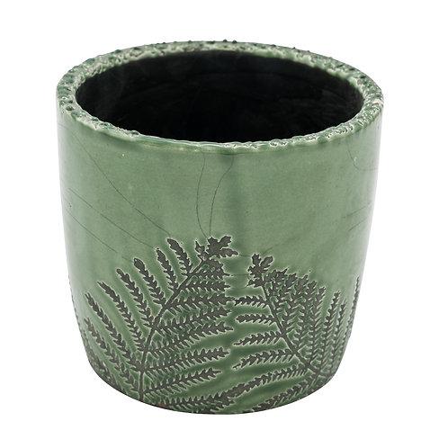 Keramiktopf mit Farnblätter