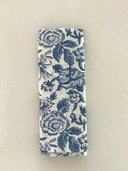 Set of 6 Hand Block Printed - Blue Floral Cloth Napkin