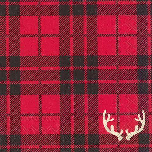 Cocktail Servietten 'Red Flannel with Antlers'