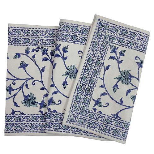 Hand Block Printed Table Runner 33cm x 170cm 'Floral Bale Blue'