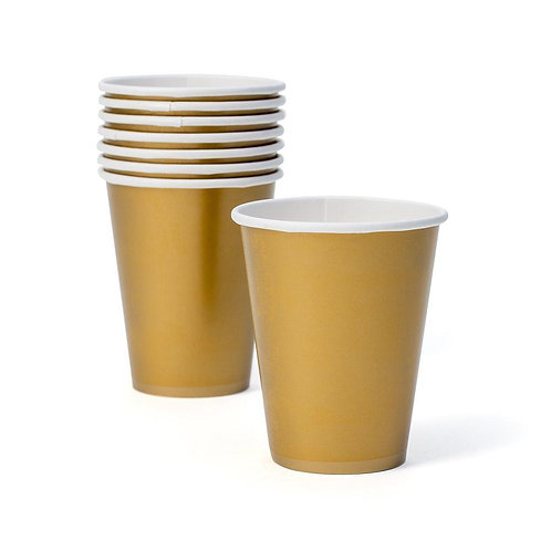 Gold Disposable Paper Cups - Pack of 8 cups