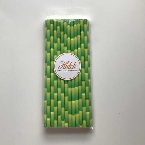 """Paper """"Bamboo"""" print straws - Pack of 25 straws Colour: Green"""