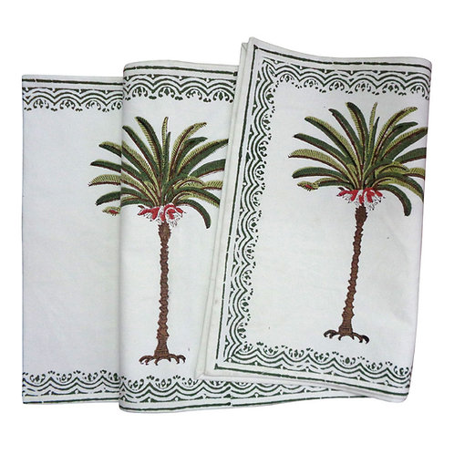 Hand Block Printed Green Palm Tree Table Runner