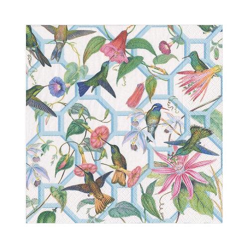 Caspari Paper Napkins - Hummingbird Trellis - Luncheon Size 20 per pack