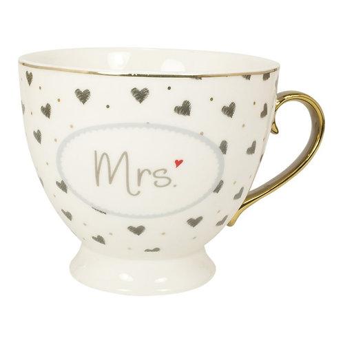 """Tasse mit Goldhenkel im Geschenkekarton """"Mrs"""""""