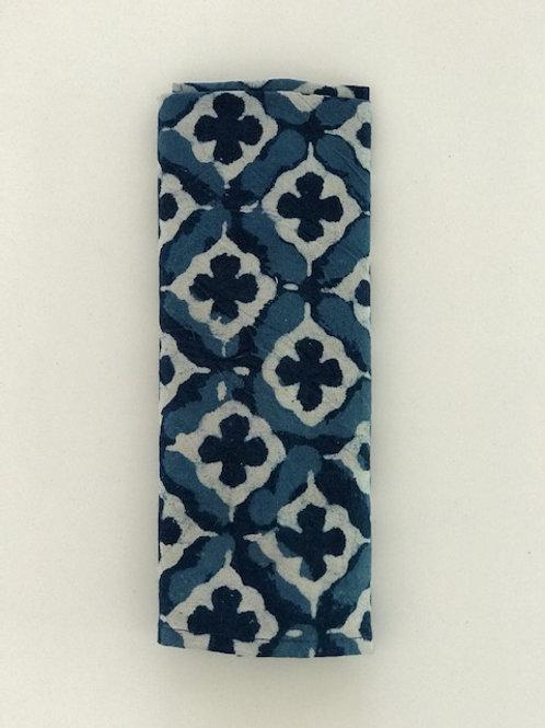 Set of 6 Hand Block Printed - Blue Morocco Cloth Napkin