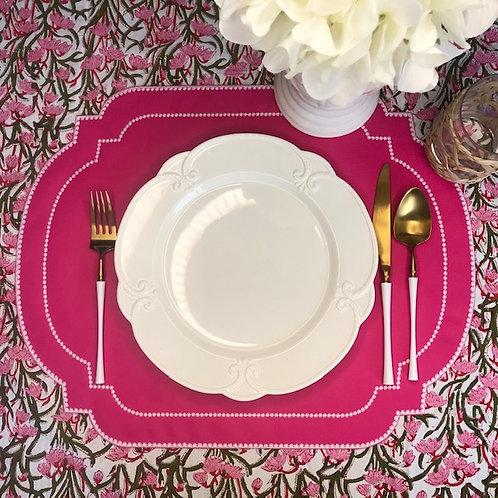 "Algarve Range Placemat - Pink/White ""Moldura"""