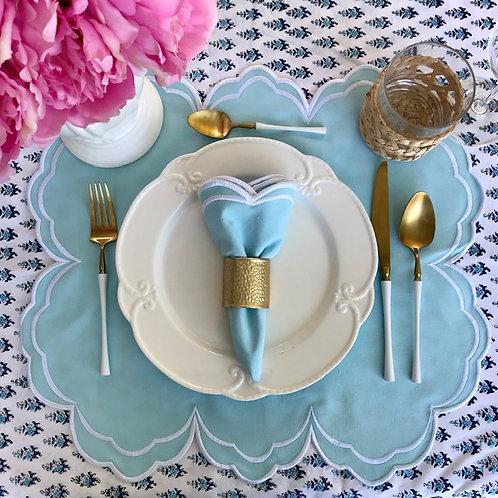 Set of 4 'High Tea' Placemat and Napkin Set - Blue