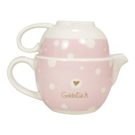 """Teekanne und Tasse mit Golddruck """"Goldstück"""""""