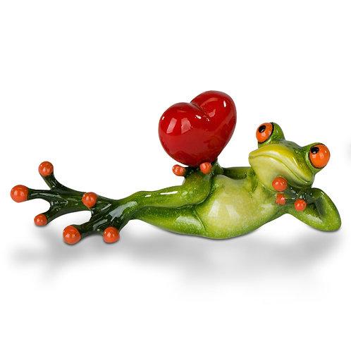 Frosch mit Herz liegend