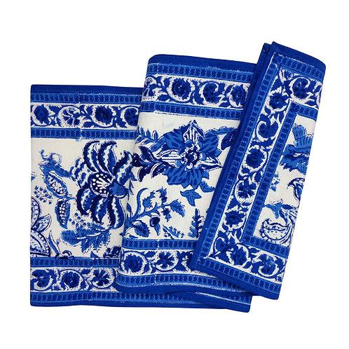 Hand Block Printed Table Runner 33cm x 170cm 'Anarkali Blue Open'