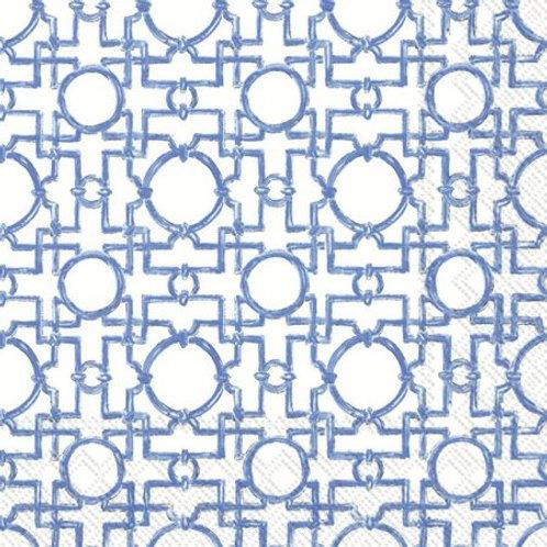 Cocktail Size Caspari Paper Napkins - Aiko- Blue -  20 per pack