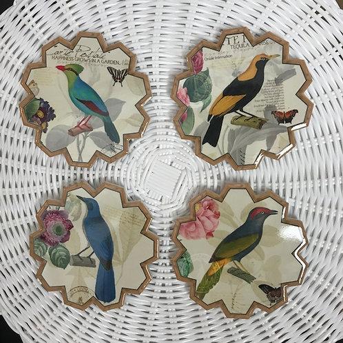 Ceramic Coasters - 'Birds' - Set of 4