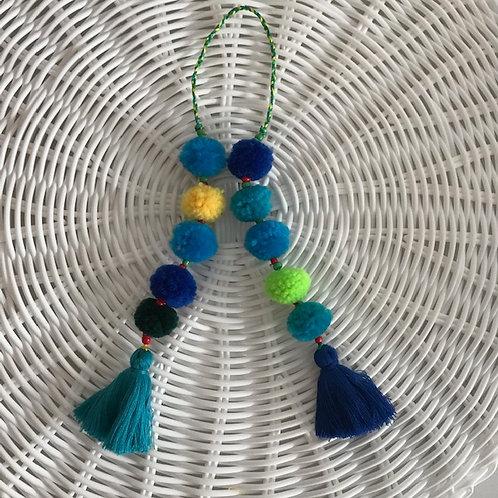 Set of Blue Pompoms Napkin Tie - Set of 4
