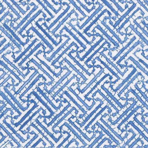 Caspari Paper Napkins - Fretwork - Blue - Luncheon Size 20 Pack