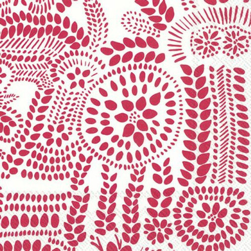 Marimekko Paper Napkins - Nasia White and Red- Luncheon Size 20 Pack