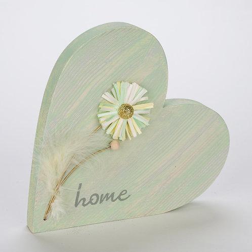 Holzherz 'Home' - grün