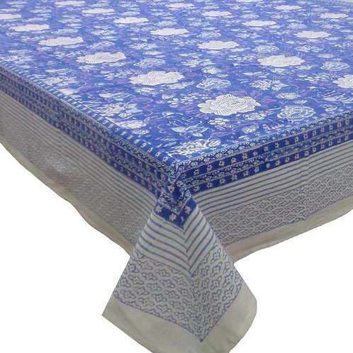 Block Printed Tablecloth 'Floral Canvas Blue' *Rectangle