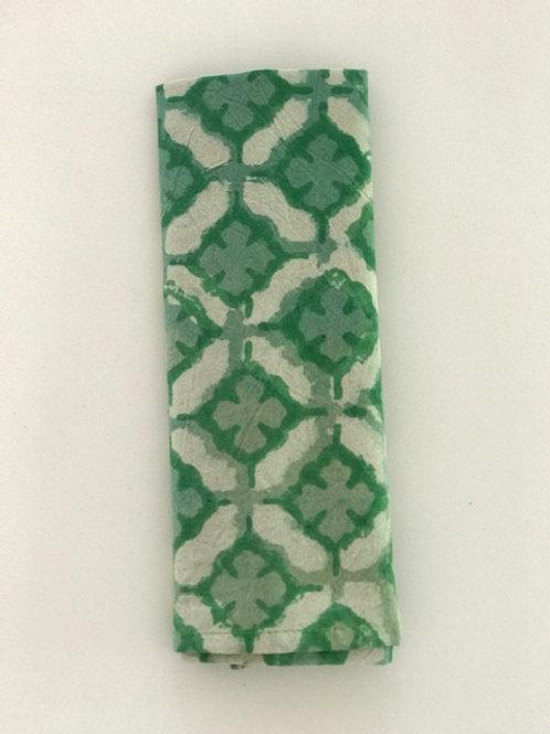 Set of 6 Hand Block Printed - Green Morocco Cloth Napkin