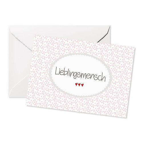 """Doppelkarte Quer Motiv """"Lieblingsmensch"""" rosa"""