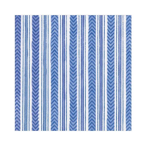 Caspari Paper Napkins - Carmen Stripe  Blue - Luncheon Size 20 per pack