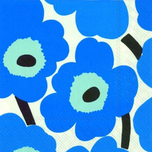 Marimekko Paper Napkins - Unikko Blue- Luncheon Size 20 Pack