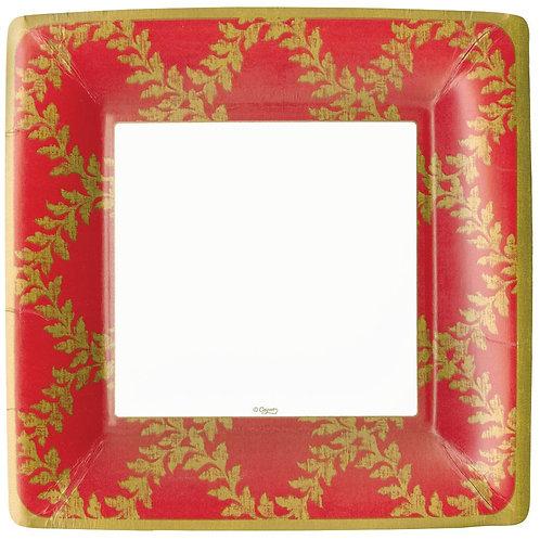 """Caspari Paper Dinner Plates - 'Acanthus Trellis"""" Red. Pack of 8"""
