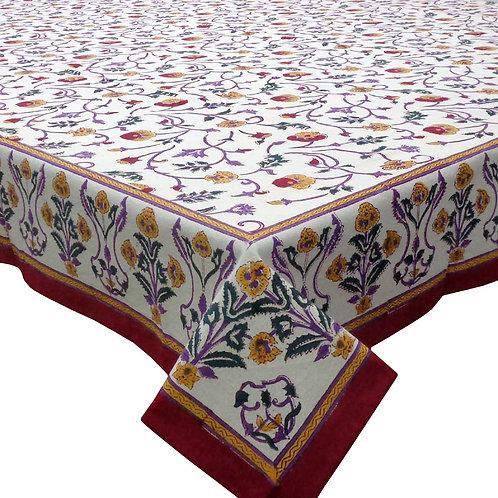 Block Printed Tablecloth 'Rangila Phool' Violet *Rectangle