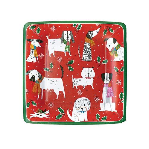 Caspari Paper Dessert/Salad Plates - 'Christmas Canines Red. Pack of 8